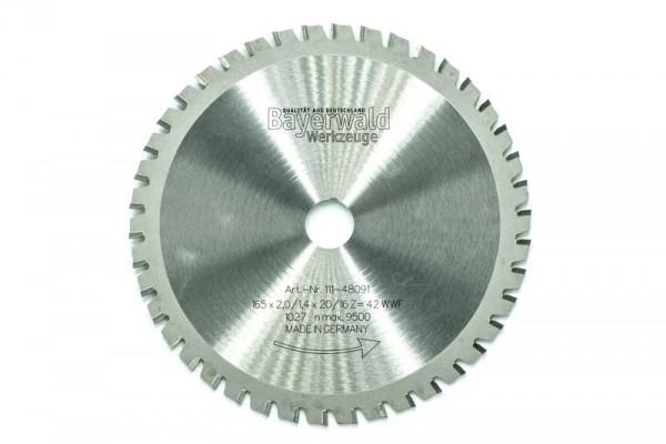 HM Multifunktions-Kreissägeblatt - Ø 165 mm x 2,0 mm x 20/16 mm | Z=42 WWF