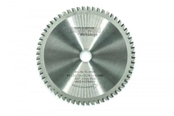 HM Multifunktions-Kreissägeblatt - Ø 165 mm x 2,0 mm x 20/16 mm | Z=60 WWF