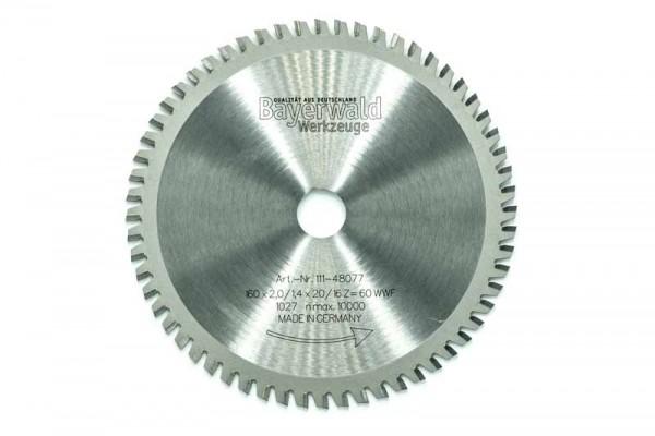 HM Multifunktions-Kreissägeblatt - Ø 160 mm x 2,0 mm x 20/16 mm | Z=60 WWF