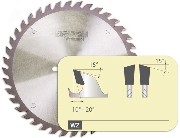 Zahnform - HM Tischkreissägeblatt - 250 mm x 3,2 mm x 30 mm | Z=42 UW